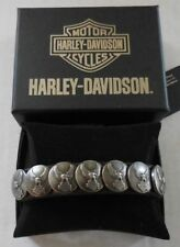 Harley Davidson Mens Everlast Upwing Eagle Concho Black Leather LODIS Wrist Cuff