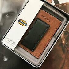 Fossil Mens Brown Leather Max Money Clip Multi-Card Case Wallet ML3742B300 NWT