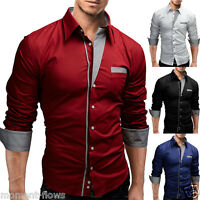 New Mens Smart Fashion Slim Fit Casual Business ASS Shirt-4 Colors