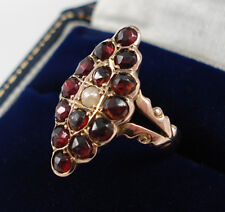 Antique 9ct Gold Garnet & Pearl Ring.