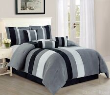 7 Piece Gray Black Micro Suede Patchwork Comforter Set Queen Size  @Linen Plus