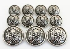 YCEE 11 Pieces Silver Vintage Metal Blazer Button Set - Skull - For Blazer Su...