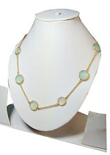 """Aqua Chalcedony oval faceted gemstone brass gold plated long chain 36"""" necklace"""