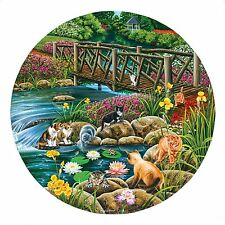 Field Cats Stream Bridge Flower Garden Round Shape Jigsaw Puzzle 1000 Piece