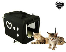 Valentina Valentti Pet Cat Small Dog Carrier Transport Crate Hearts S Size  B/W