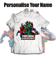 Personalised Marvel Avengers Name T Shirt Top Clothes Kids Boys Girls children