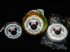 108 PERSONALIZED MINNIE MOUSE PARTY FAVOR CANDY WRAPPERS HERSHEY'S KISS LABELS