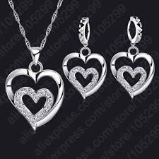 Ohrringe + Halskette + Anhänger Doppel Herz 925 Silber Kristall Schmuckset Neu