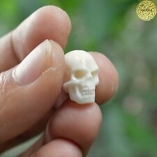 Hand Carved 15mm Human Skull Natural Buffalo Bone Carving Gift Undrilled