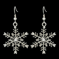 Snowflake Flower Hook Dangle Earring Clear Austrian Crystal Silver GP E349