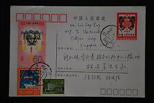HP2 4f New Year Postal Card (Birds) to Singapore - Guangdong-Guangzhou 1983.1.1