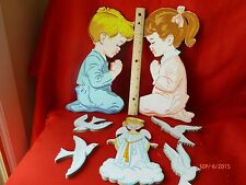Vintage Pair Of Boy & Girl Praying Wall Hanging Boards Dolly Toy Co.Wall Plaque