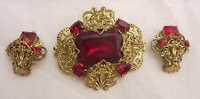 Brooch & Earring Set Vintage Filigree Ruby Red Czech Rhinestones