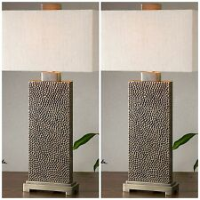 TWO BLACKENED BROWN PITTED FINISH TABLE LAMP COFFEE BRONZE DETAILS READING LIGHT
