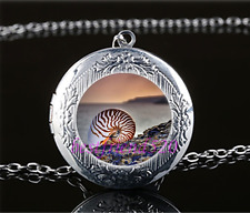 Shell Fossil Photo Cabochon Glass Tibet Silver Locket Pendant Necklace