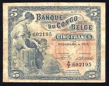 Belgian Congo 5 Francs 1949   aVF  P-13B
