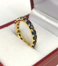 14k Solid Yellow Gold Eternity Band Ring, Natural Sapphire 2.37CT, Sz 7