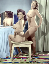 60s Nude Pinup Mae Brown sitting at vanity with Friend  8 x 10 Photograph