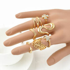 7PCS PUNK GOLD STACK ABOVE KNUCKLE RING BAND MIDI RINGS SET GIFT WOMEN