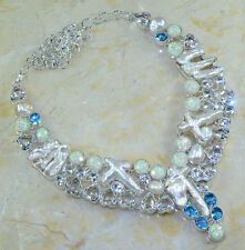 "WHITE TOPAZ+BIWA PEARL+FANCY DICHROIC GLASS NECKLACE 24""; 119 GRAMS; YK392"