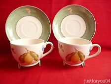 Pair Of Wedgwood Sarah's Garden Cups and Saucers.Citrus limon.Green Boarder