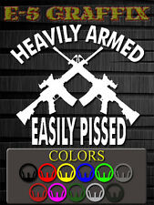 DEL Heavily Armed Easily Pissed Vinyl decal NRA USMC Army Navy Air Force