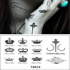 New Transfer Waterproof Temporary Tattoo Black Crown & Letter Body Art Sticker