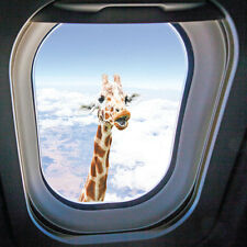 Giraffe Outside Plane Window Birthday Card, Funny Humorous Animal