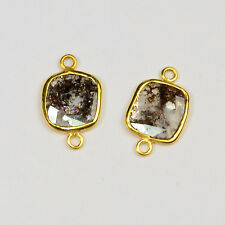 2.1CT 18K Solid Yellow Gold Rose Cut Rustic Diamond Slice Bezel Connector PAIR