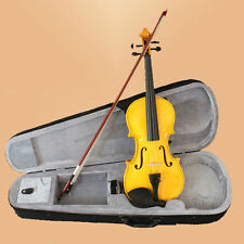 NEW Full Size 4/4 Natural Acoustic Violin + Case Bow Rosin -Yellow