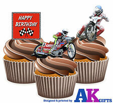 Happy Birthday Speedway Mix - 12 EDIBLE WAFER CUP CAKE TOPPERS STAND UPS