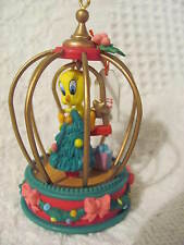 Christmas Ornament 1995 Warner Bros Looney Tunes Tweety in Cage with Tree