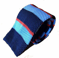 New Luxury Vintage Knitted Tie Navy Light Blue Orange Striped Classic Skinny