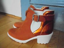 SWEAR London 9.5 ladies 41 boots shoes Suede Leather Rust orange White NEW $280
