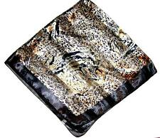 SCARF Large Square Plum Brown Black Spots & Brown Border Wild Cats JUNGLE FACES