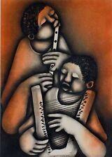 Moderne Kunst, Mbele David *1940, Musiker Duett, signiert xxxxxxxxxx