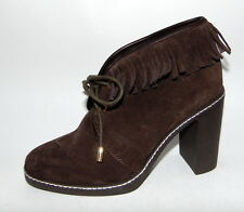 New $425 TORY BURCH 'Hilary' Shearling Lined, Fringed Ankle Boots, Bootie, sz 8