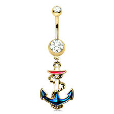 Gold Plated Hooked Vintage Anchor Dangle Belly Button Navel Ring