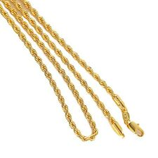 """18k Yellow Gold Filled Women's/Mens Necklace 24"""" Rope 3mm charm Chain GF Jewelry"""