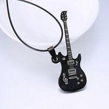 MÄNNER Kette Halskette Gitarre Schwarz  Neu 1238