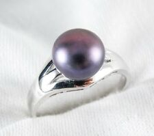 Fresh water Black Pearl 9mm Ring 925 Sterling Silver Size 8 List $210
