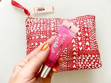 Victoria's Secret Gift Red Heart Make Up Bag With Lip Gloss