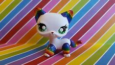 Rockin' Rainbow Short Hair Cat * OOAK Custom Hand Painted Littlest Pet Shop