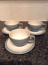 Denby everyday cool blue 3x cups and saucers