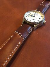 Arm Art Handmade Leather Men's watch strap 22 mm Brown Band with S Steel buckle