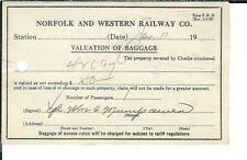 AX-143 - 60 Norfolk and Southern Railway Co, 1950's Baggage Valuation Tickets.
