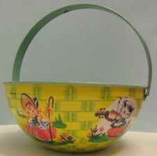 Unusual Antique Tin Litho Toy Sand Pail Basket Shaped Chein 1940s-1950s