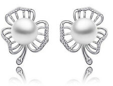 Elegant Bridal Silver Leaf White Pearl Earrings Studs E640