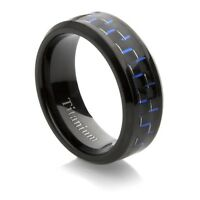 Mens Titanium Black Plated Wedding Band with Black and Blue Carbon Fiber Inlay