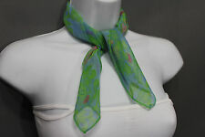 Dressy Small Neck Scarf Fabric Pocket Square Green Chic Baby Blue Pink Leaves